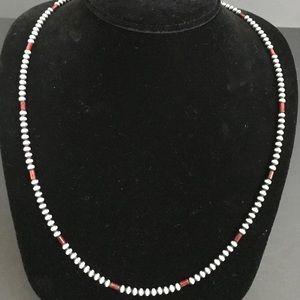 Jewelry - Men's SterlingSilver 4mm NavajoPearls BeadNecklace